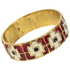 Mid Century Modernist Bronze Bracelet Bangle Geometric Enamel