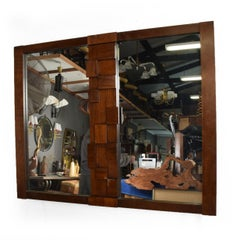 Mid-Century Modernist Brutalist Walnut Mirror by Lane