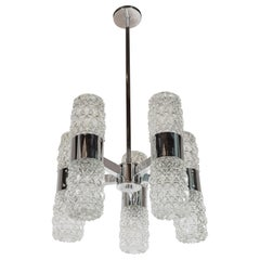 Mid-Century Modernist Chandelier by Kinkeldey in Chrome and Textured Glass