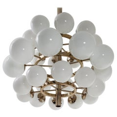 Mid-Century Modernist Chandelier with 30 Hand Blown Opaline Glass Globes