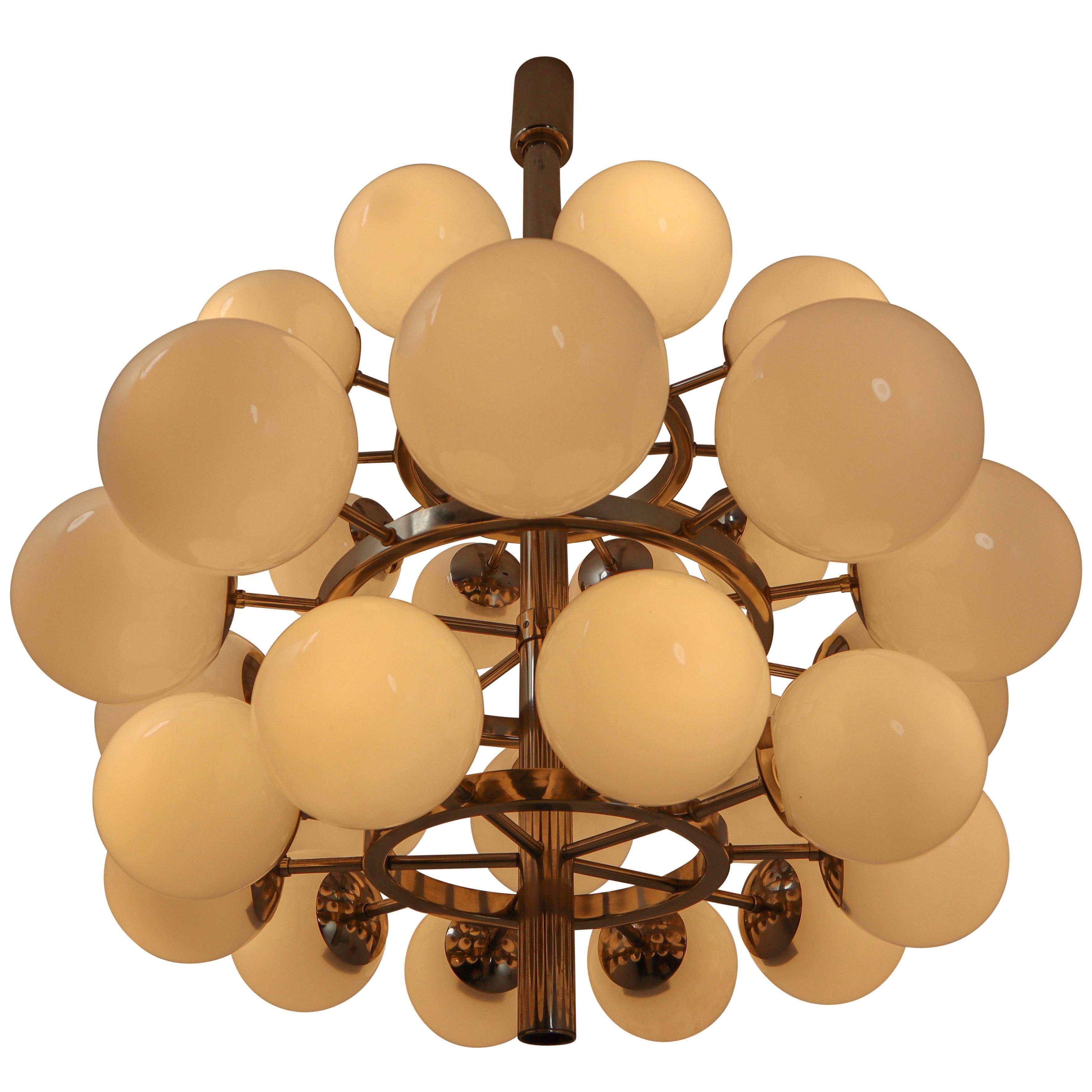 Mid-Century Modernist Chandelier with 30 Handblown Opaline Glass Globes