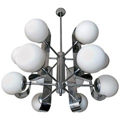 Mid-Century Modernist Chrome Atomic Space Age Sputnik Orbit 12-Light Chandelier
