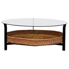 Mid-Century Modernist Coffee Table with Rattan Basket
