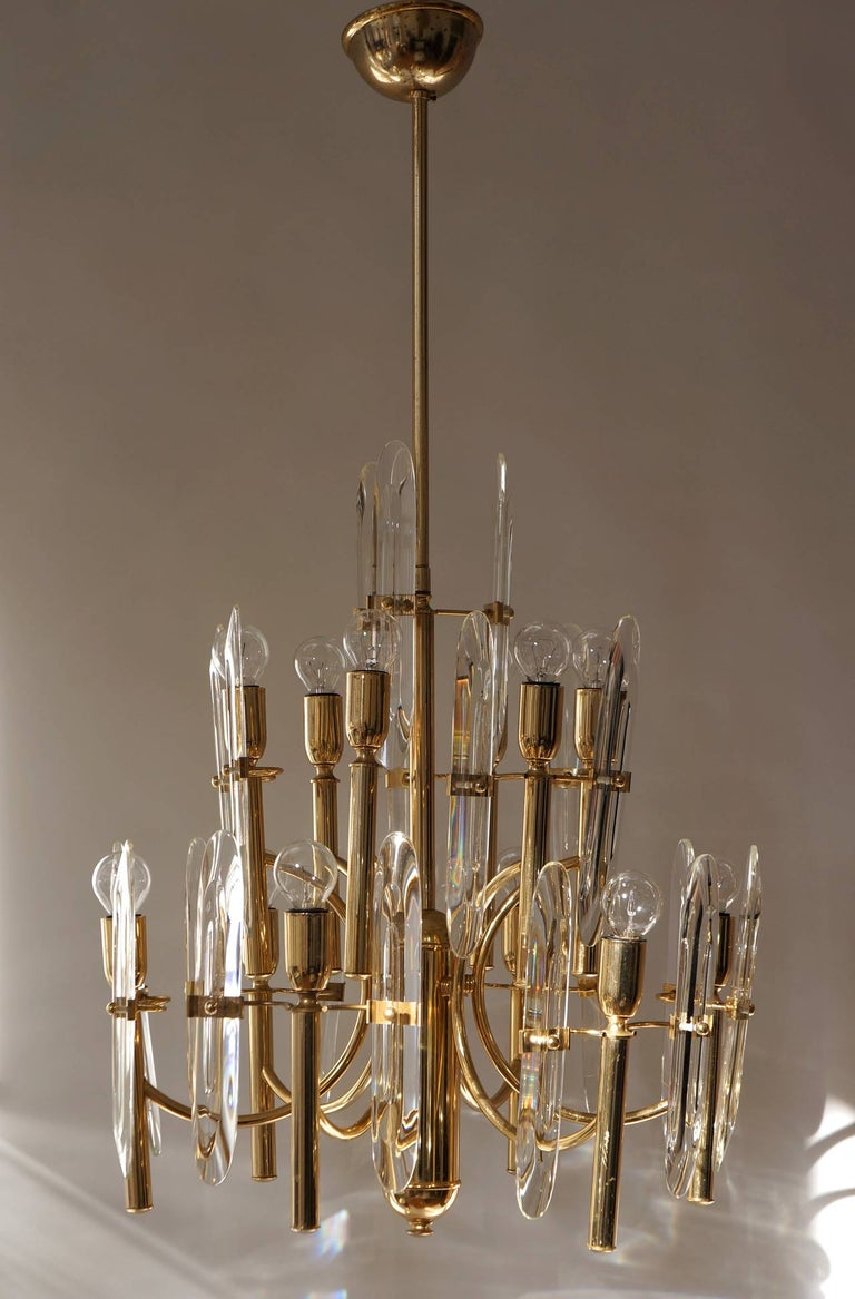 Italian Mid-Century Modernist Glass and Brass Sciolari Chandelier For Sale