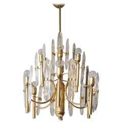 Mid-Century Modernist Glass and Brass Sciolari Chandelier