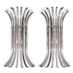 Mid-Century Modernist Handblown Murano Clear and Black Glass Camer Sconces