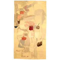 Mid-Century Modernist Handmade Wool Rug in Shades of Pink, Red, Blue and Cream