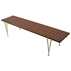 Mid-Century Modernist Hugh Acton Cherry Wood Brass Coffee Table Bench Seat