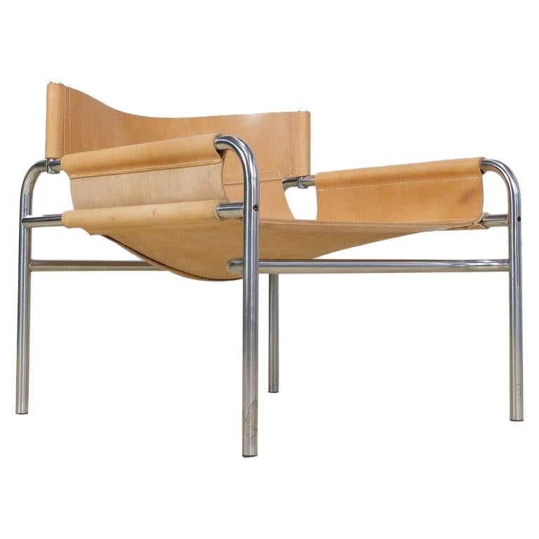 Mid-Century Modernist Lounge Chairs in Saddle Leather by Walter Antonis, 1974 For Sale