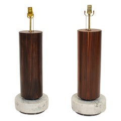 Mid Century Modernist Mexican Table Lamps in Rosewood and Marble