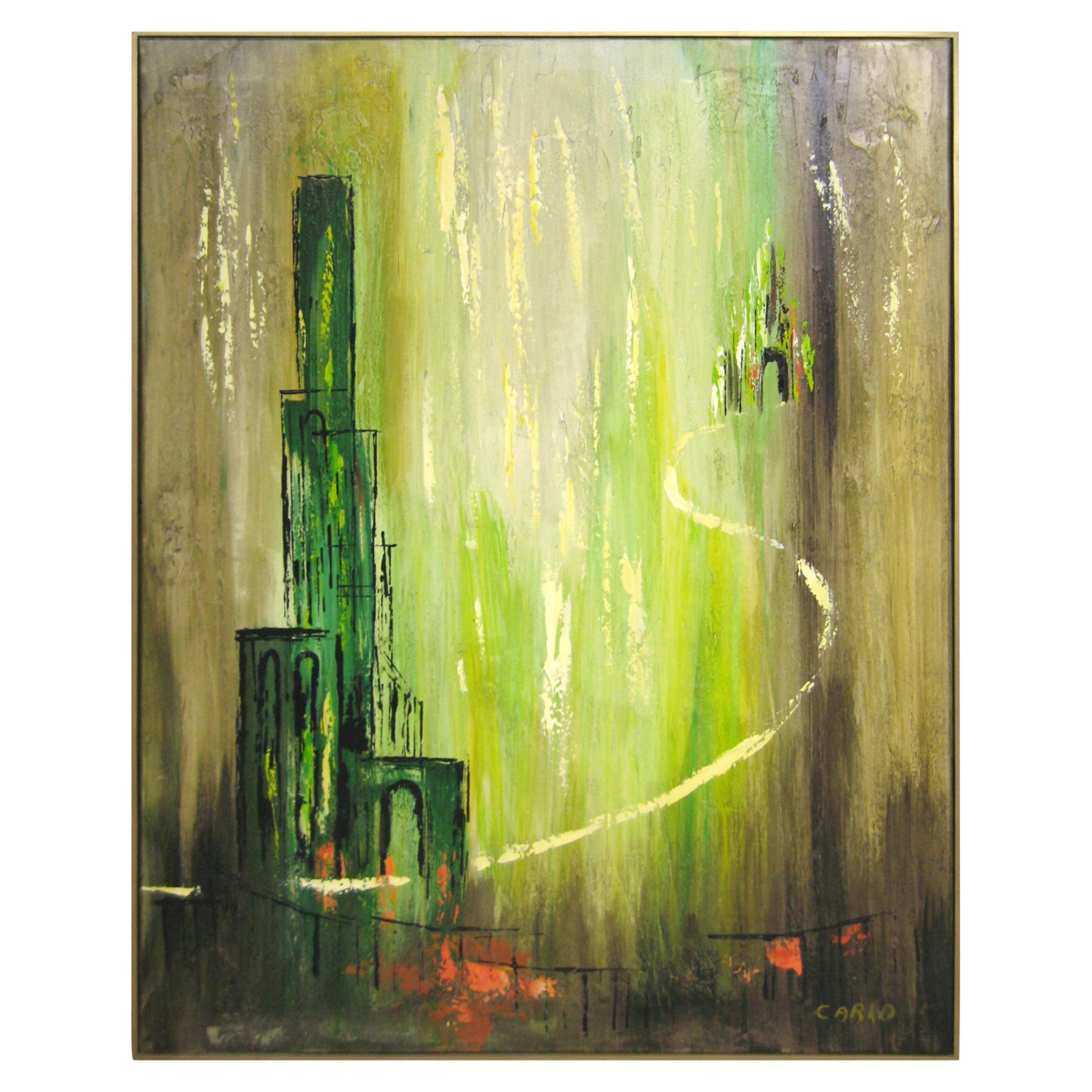 Mid-Century Modernist Oil on Canvas Painting 1960s