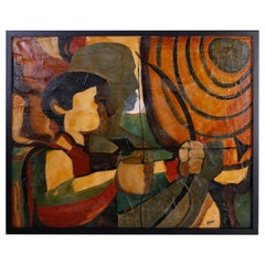 Mid-Century Modernist Oil Painting on Canvas of an Archer