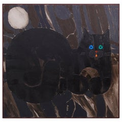 Mid-Century Modernist Painting on Canvas of Cat