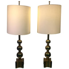 Mid-Century Modernist Pair of Stacked Gold Ball Design Lamps
