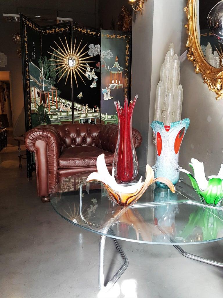 Murano Peach Pink & Opaline White Art Glass Centerpiece / Vase For Sale 1
