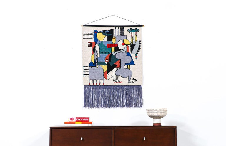 Mid-Century Modernist Picasso Cubist style wall hanging tapestry art.