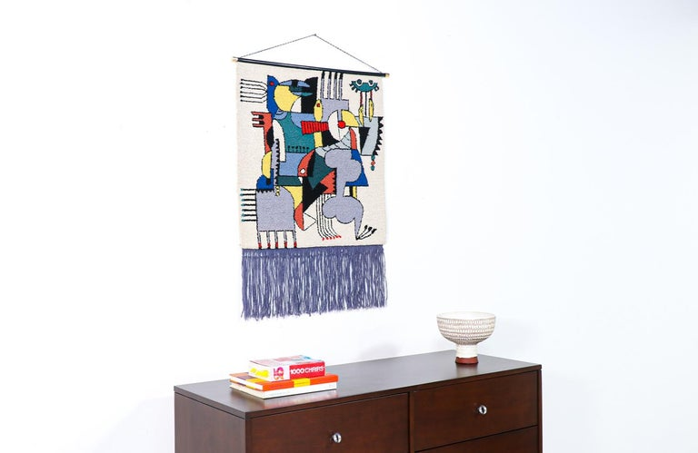 Mid-Century Modernist Picasso Cubist Style Wall Hanging Tapestry Art In Excellent Condition For Sale In Los Angeles, CA