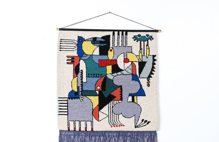 Mid-20th Century Mid-Century Modernist Picasso Cubist Style Wall Hanging Tapestry Art For Sale