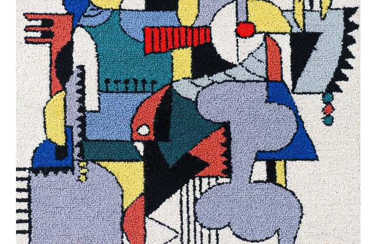 Wool Mid-Century Modernist Picasso Cubist Style Wall Hanging Tapestry Art For Sale