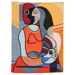 Mid-Century Modernist Picasso Cubist Style Wall Hanging Tapestry Art