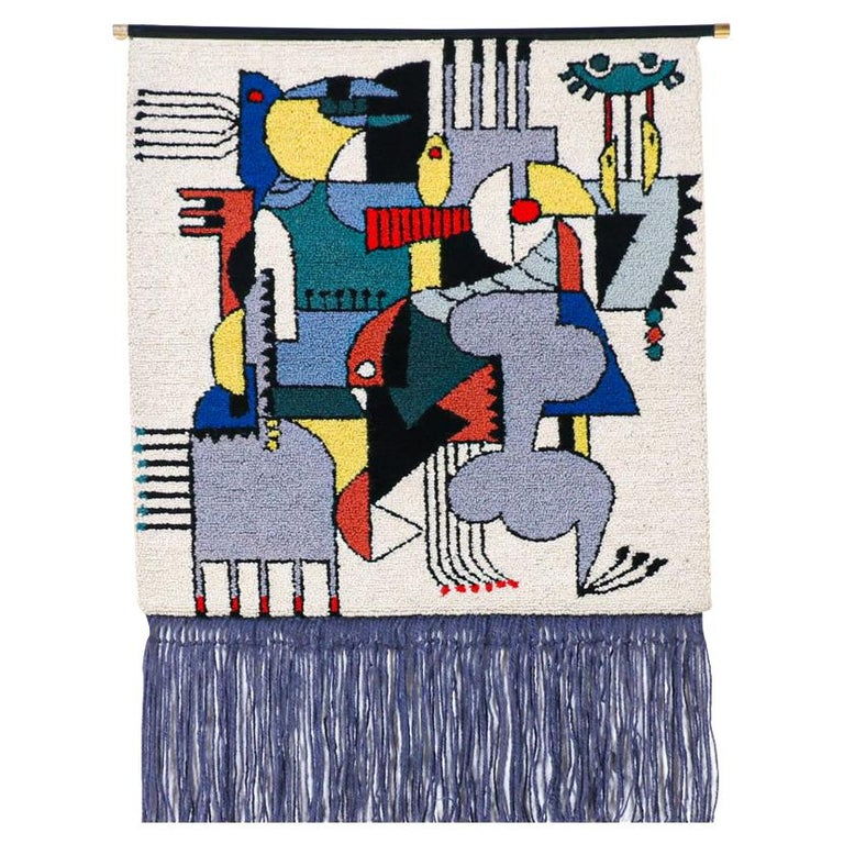 Mid-Century Modernist Picasso Cubist Style Wall Hanging Tapestry Art For Sale