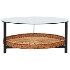 Mid-Century Modernist Rattan and Glass Coffee Table