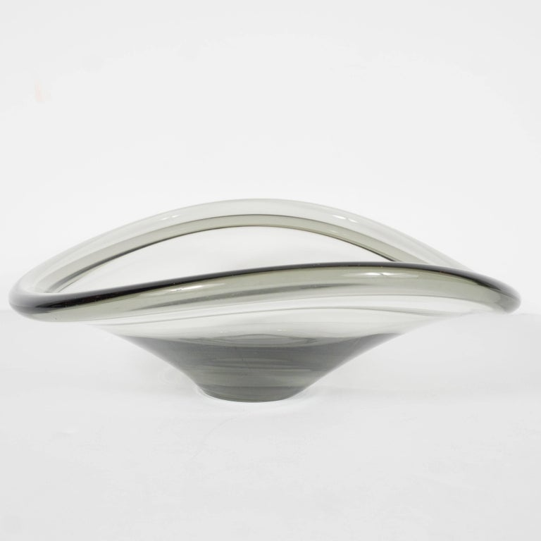 Mid-20th Century Mid-Century Modernist Smoked Glass Curved Bowl by Holmegaard of Denmark For Sale