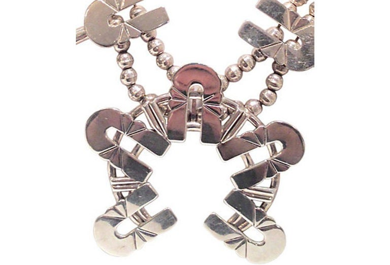 Women's or Men's Mid-Century Modernist Sterling Silver Navajo Style Squash Blossom Necklace For Sale