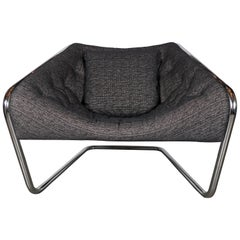 Mid-Century Modernist Tubular Angled Cantilever Chair and Metallic Upholstery