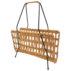 Mid-Century Modernist Wicker Magazine Rack Stand 1960s German
