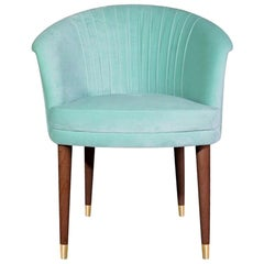 "Mid-Century Modern""Miami"" Aqua Blue Velvet Upholstered Dining Room Club Armchair"