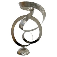 Mid-Century Modern French Abstract Brushed Aluminum Table Sculpture, 1970s