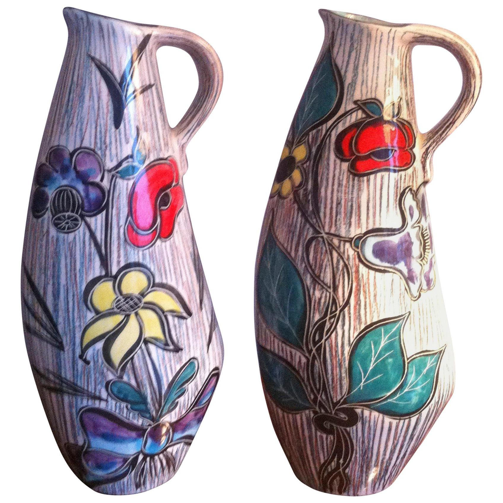 Mid-Century Modern,Tall Pair of Ceramic French Pitchers Vase Signed Vallauris