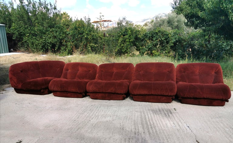 Mid-Century Modular Sofa Nuvolone by Mimo J. in Velvet Beige, Brown, Brick Red In Good Condition In Palermo, IT
