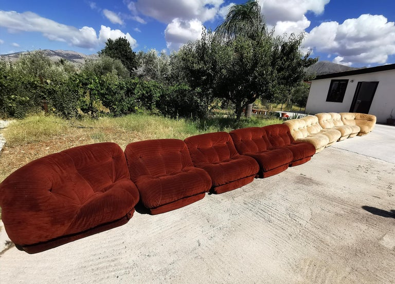 20th Century Mid-Century Modular Sofa Nuvolone by Mimo J. in Velvet Beige, Brown, Brick Red