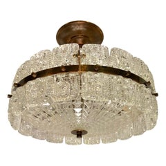 Midcentury Molded Glass Light Fixture