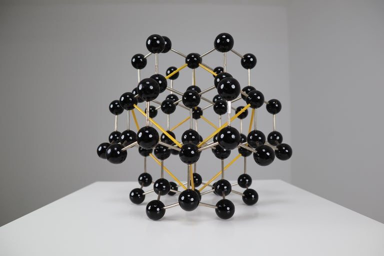 Mid-Century Molecular Structure from Prague in Black and Yellow For Sale 3