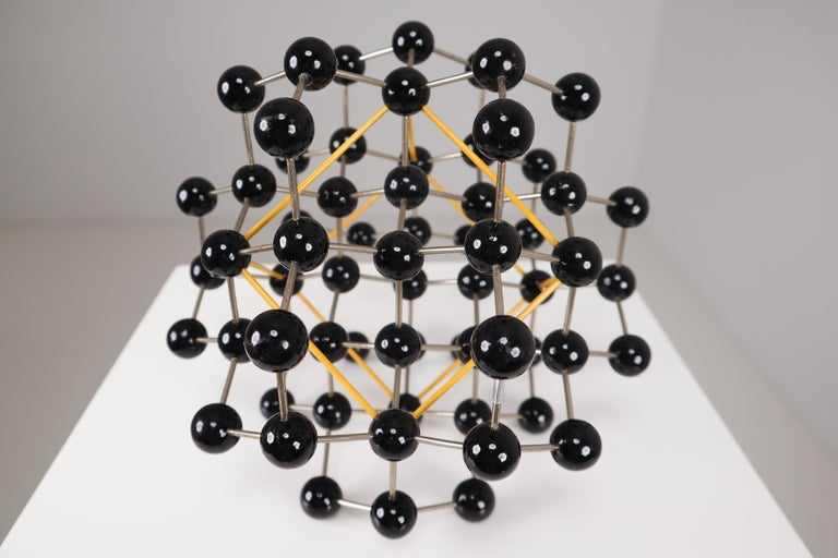 Mid-Century Molecular Structure from Prague in Black and Yellow For Sale 4