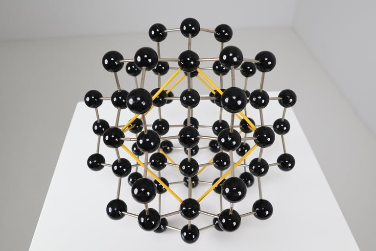 Czech Mid-Century Molecular Structure from Prague in Black and Yellow For Sale