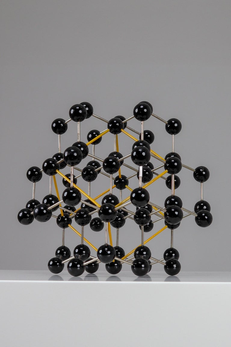 Mid-Century Molecular Structure from Prague in Black and Yellow In Good Condition For Sale In Almelo, NL