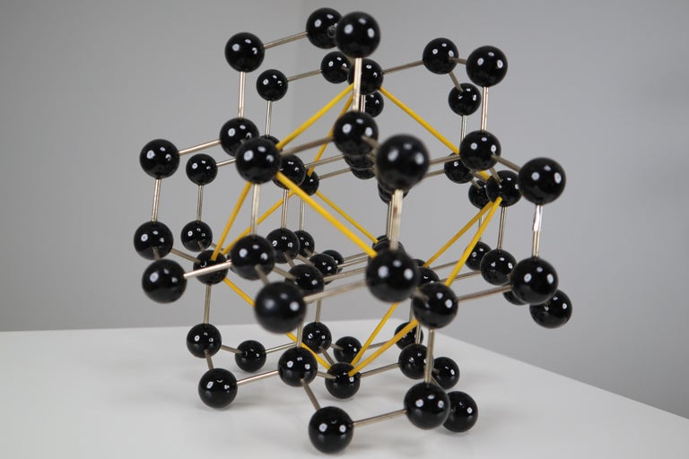 20th Century Mid-Century Molecular Structure from Prague in Black and Yellow For Sale