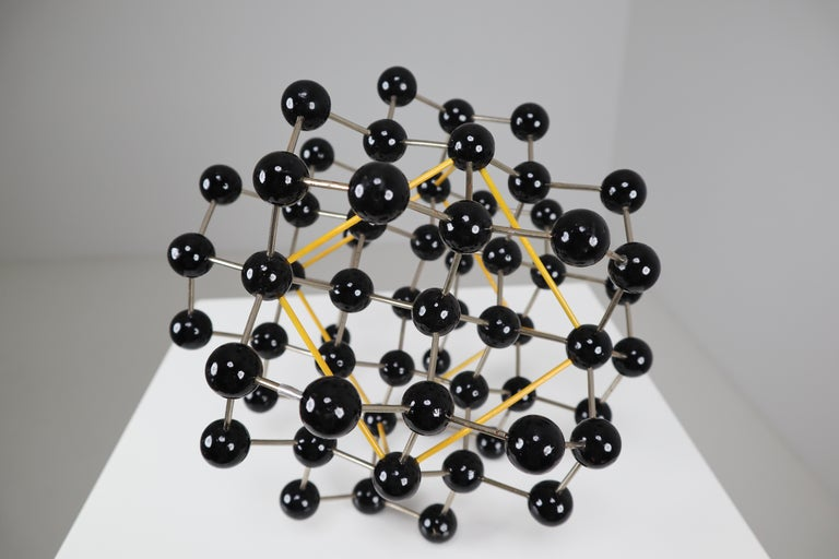 Metal Mid-Century Molecular Structure from Prague in Black and Yellow For Sale