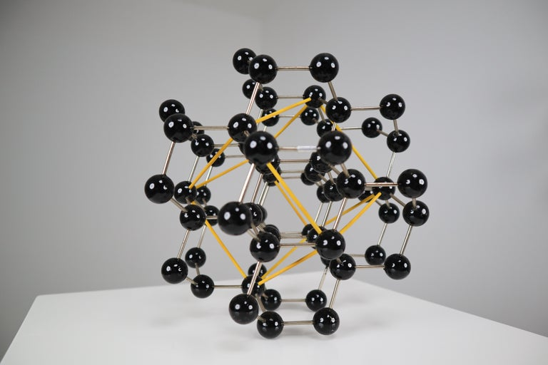 Mid-Century Molecular Structure from Prague in Black and Yellow For Sale 1
