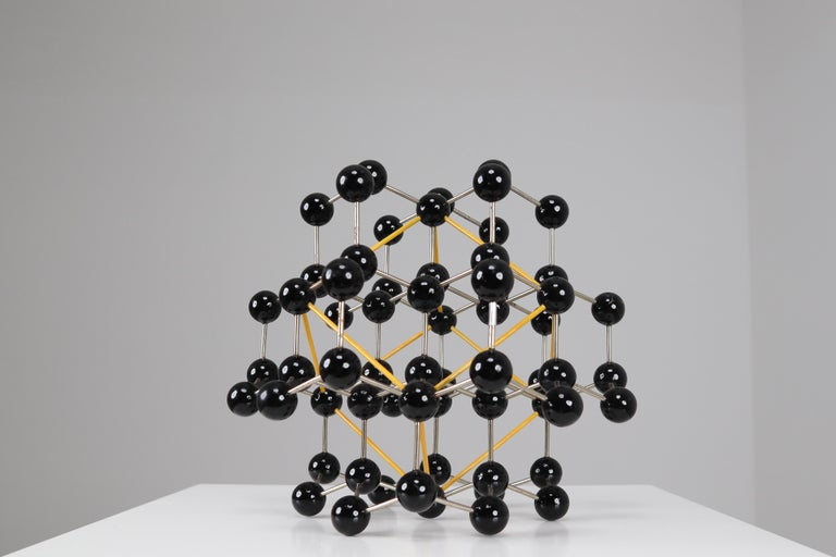 Mid-Century Molecular Structure from Prague in Black and Yellow For Sale 2