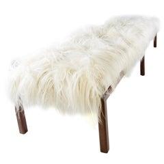 Midcentury Mongolian Fur Bench