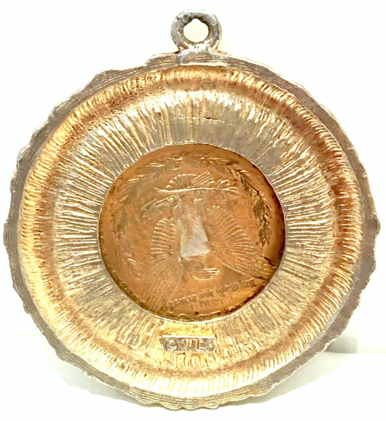 Mid-Century Monumental 1921 Gold Plate Silver US Morgan Dollar Necklace Pendant  For Sale 7