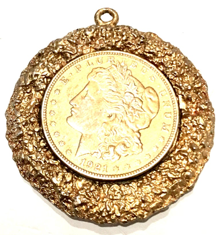 Mid-Century Monumental 1921 Gold Plate Silver US Morgan Dollar Coin Necklace Pendant By, WLP.  Features an authentic gold plate silver 1921 US Morgan Dollar coin bezel set and surrounded by
