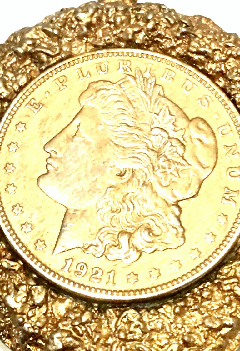 Mid-Century Monumental 1921 Gold Plate Silver US Morgan Dollar Necklace Pendant  For Sale 1