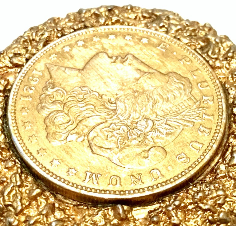 Mid-Century Monumental 1921 Gold Plate Silver US Morgan Dollar Necklace Pendant  For Sale 2