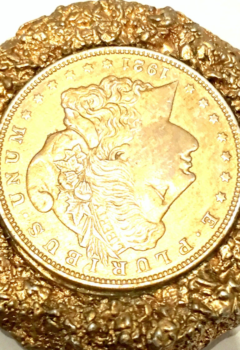 Mid-Century Monumental 1921 Gold Plate Silver US Morgan Dollar Necklace Pendant  For Sale 3